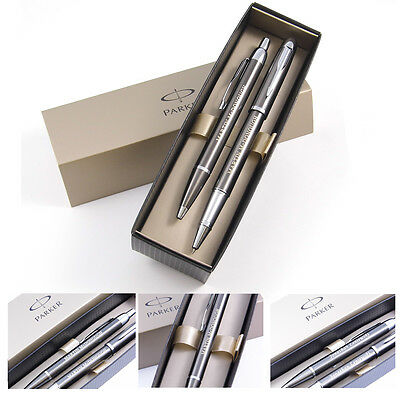 Personalised Engraved Parker IM - Gun Metal Rollerball and Ballpoint Pen Set