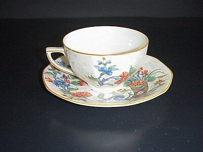 Crown Ducal Ware Cup & Saucer Set England #1424 Bird Orange Blue