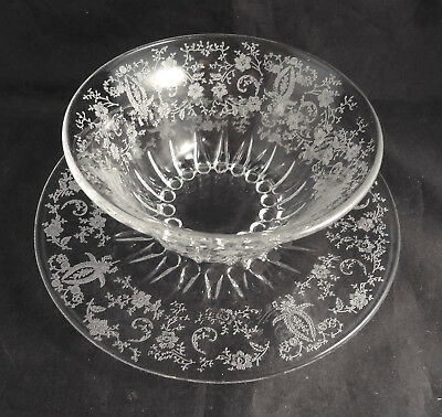 PRELUDE NEW MARTINSVILLE Etched MAYONNAISE BOWL & UNDERPLATE Pat# 491
