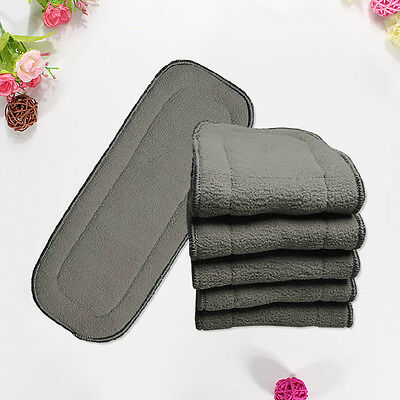 Lot Bamboo Fiber Charcoal Washable Cloth Diaper Nappies Insert Reusable 5 Layers