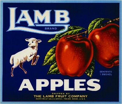 Yakima Washington State Lamb #2 Apple Fruit Crate Label Vintage  Art Print