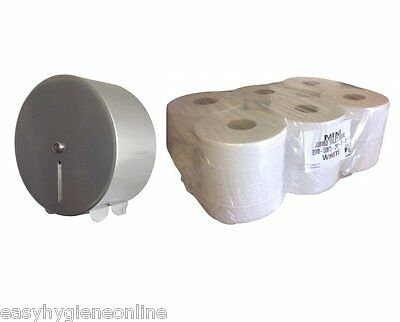 METAL Mini Jumbo Silver Steel Toilet Loo Paper Tissue Dispenser + Case of Rolls
