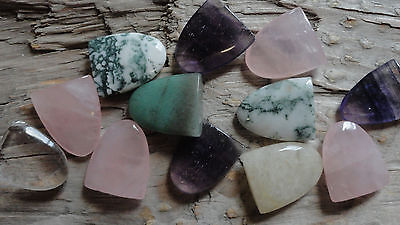 """Assorted Tongue Set CCCC (pkg 12) stone piece for wire wrapping 1/2"""" x 3/4"""""""