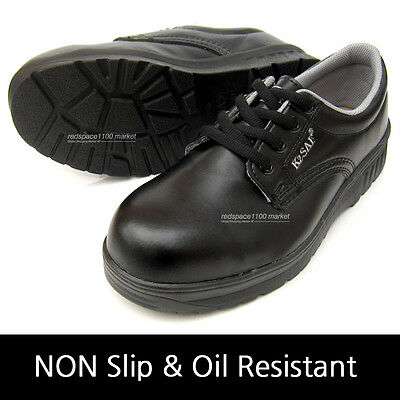 Men's Chef Shoes Black Safety Work Steel Toe Cap work in kitchens Non-Slip