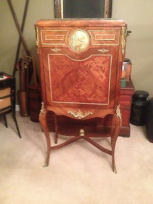 Antique French Inlaid Rosewood Drop Front Secretary