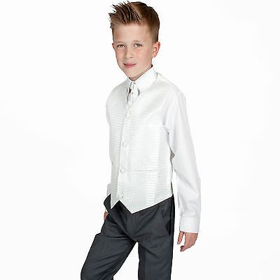 Boys Suits 4 Piece Grey Ivory Suit Wedding Page Boy Baby Formal Party Smart