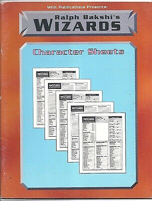 Ralph Bakshi's Wizards - Character Sheets (1992) Whit Publications