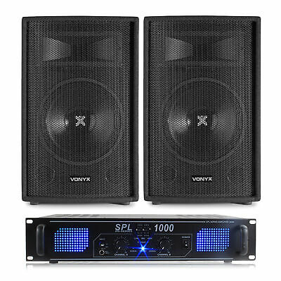 2x Skytec 12 Inch Speakers, Amplifier + Cables 1200W Essex