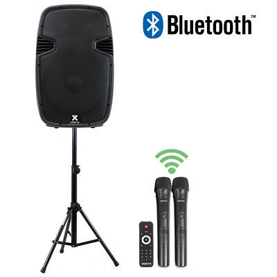 """15"""" Bluetooth Active Powered Portable Mobile PA Speaker System + Stand 700W Set"""