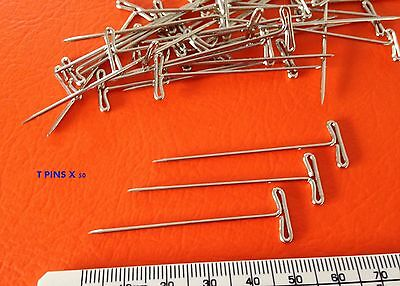 """T PINS HAT WIG CRAFT HOBBY PINS 2"""" x 50 for hat wig model making INC POST"""