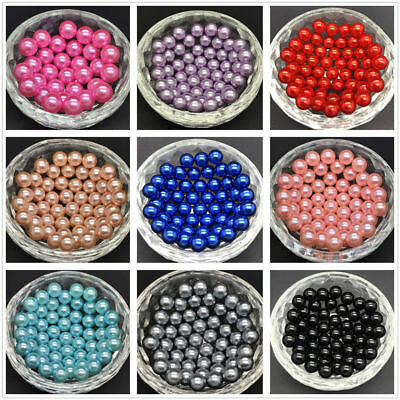 60-210pcs New European Glass Loose Pearl Beads 4mm 6mm 8mm 10mm 12mm 14mm 16mm