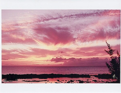 "'PINATUBO' SUNSET SHARK'S COVE HALEIWA UNMOUNTED GICLEE ON 8.5x11"" PHOTO PAPER"