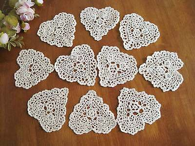 TEN Chic Hand Crochet Heart Shape Cotton Doily Ecru 4""