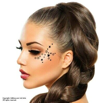 ADDTTOO® Design - Party Stars Black Gold Silver Temporary Tattoos Face Body