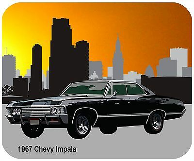 Mouse Pad Custom Thick Mousepad-1967 Chevy Impala - Any Text For Free