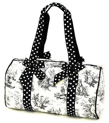 QUILTED TOTE Duffle Bag Scenic Print Polkadot Bows Dual Handle Shoulder Diapers