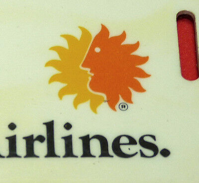 Vtg National Airlines Sun Faced NAL Stewardess Flight Attendant Luggage Tag 1976