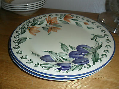 STAFFORDSHIRE PLUMS AND FLOWERS DINNER PLATES X 2