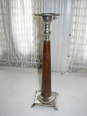 Vintage,  12-inch x 4in Square Base,  Metal ad Wood Candle Holder