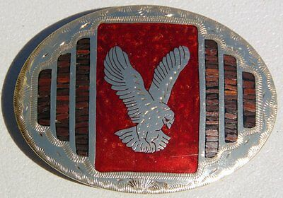 Johnson Held USA Eagle Inlay Ironwood Hand Crafted Western Belt Buckle VGC