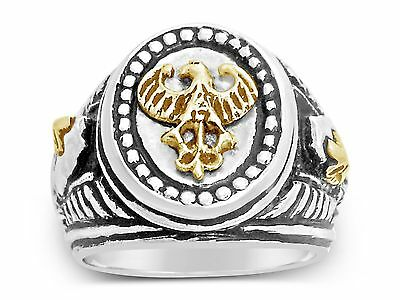 10K German eagle Teutonic Knights helmet sterling silver Signet ring