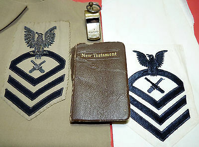 WWII US Navy New Testament Bible & MP Military Whistle & USN Theater Patches lot