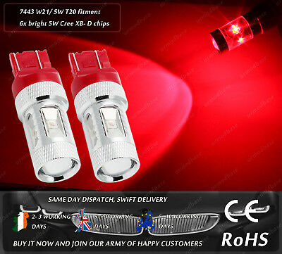 2x 30w Cree T20 580 W21/ 5W 7443 LED Red Bulbs Stop Tail Lamp Rear Lights Bulbs