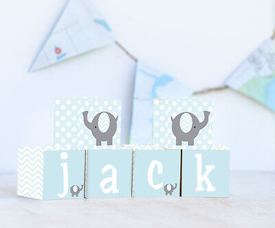 Personalised Wooden Name Blocks PRICE PER BLOCK/LETTER Blue Chevron Elephant
