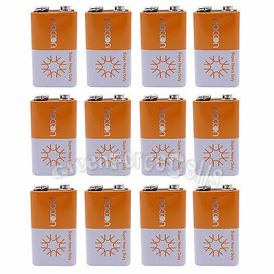 12 pcs 9V Volt Super Heavy Duty Carbon-Zinc Battery Cell 6F22 Block Naccon