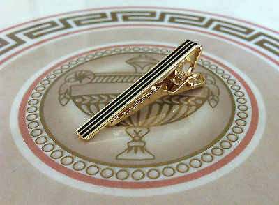 Mens 4CM Skinny Tie Bar -Gold Black Stripe- Stainless Steel Slim Clip Clasp Pin