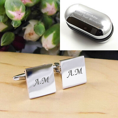 Silver Square Personalised ENGRAVED Initial Cufflinks - Wedding / Birthday Gift