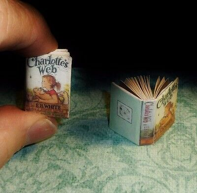 Dollhouse Miniature Book CHARLOTTE'S WEB! Condensed story-Original Illustrations