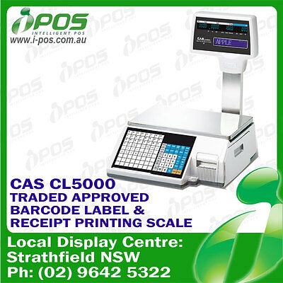 CAS CL-5000 Barcode Label and Receipt Printing Scale 15KG with Pole Display