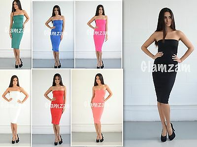 New Womens Ladies Strapless Glam Celeb Towie Bodycon Pencil Boobtube Party Dress