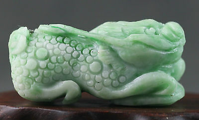Chinese dushan jade statue hand-carved dragon pixiu pendant 1.4 inch