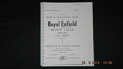 Royal Enfield 1949-50 500 Twin Parts Catalogue 00102 [3-54]