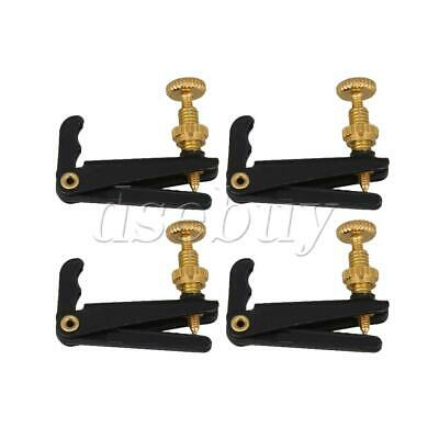 Set of 4 Violin String Fine Adjuster Tuners Black/gold 3/4 4/4