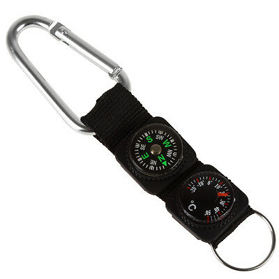 3 in 1 Multifuntional Carabiner with Compass & Thermometer & Key Ring
