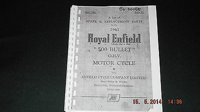 Royal Enfield 1961 500 Bullet Parts Cat 00155 [3-54]