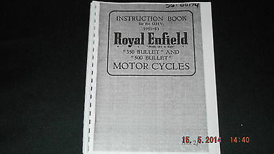Royal Enfield 1951-53 350 Bullet and 500 Bullet Instruction Book 00174 [3-54]