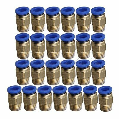 25x Pneumatic Connectors 8mm BSP 1/4 One-touch Straight for PU Trachea