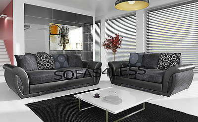 huge sale new large shannon leather & fabric 3+2 seater sofa armchair black grey