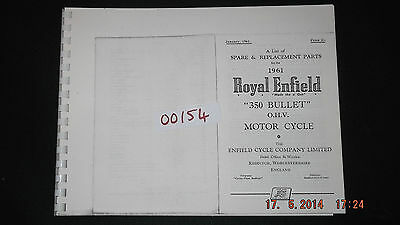 Royal Enfield 1961 350 Bullet Parts List 00154 [3-10-1]
