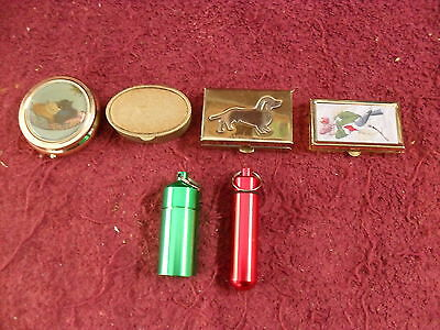 """LOT of SIX (6) """"ASSORTED"""" Collectible PILL BOXES"""