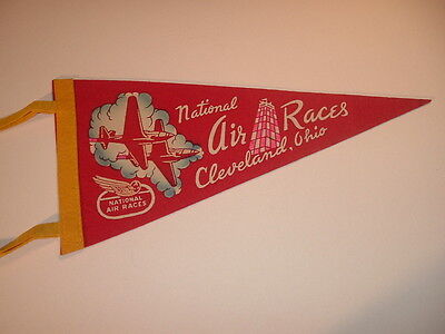 1940's National Air Races Cleveland Ohio Red Mini Pennant
