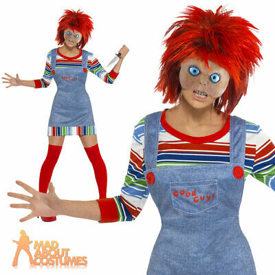 Adult Female Chucky Fancy Dress Halloween Childs Play Ladies Costume Size 4-18