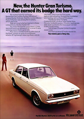 HILLMAN HUNTER GT RETRO A3 POSTER PRINT FROM CLASSIC 70's ADVERT