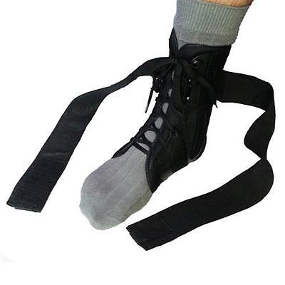 Small Black Form Fit Ankle Support Brace Lace up 2 Straps Guard Protector Foot
