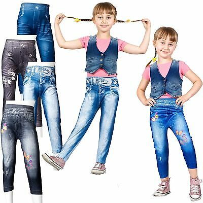 Leggings Jeans Optik Kinder Mädchen Hose Jeggings Treggings Leggins Modell 1-4