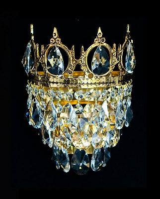 Crystal & Metal Wall Lamp with Real Crystal Matching Chandelier Available